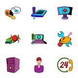 Virus icons set, cartoon style. Virus icons set. Cartoon illustration of 9 virus vector icons for web Royalty Free Stock Photography