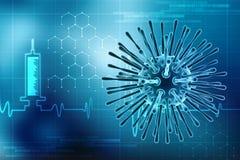 Virus im digitalen Hintergrund, im Gesundheitswesen und im medizinischen Hintergrund lizenzfreie abbildung