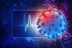 Virus im medizinischen Hintergrund 3d übertragen lizenzfreie abbildung