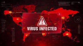 Virus Infected Alert Warning Attack on Screen World Map.