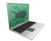 Virus Infected Computer. A computer that has been infected with a virus or has caught a bug Stock Image