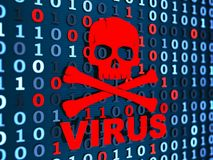 Virus informatico e codice binario Immagini Stock