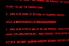Virus informatico Petya a Soldi di estorsione dello schermo fotografie stock