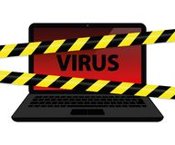 Virus inside the laptop with warning tape internet crime stock illustration