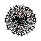 Virus, an isolated viral molecule, black, white and red colors. Virus, an isolated viral molecule with a protein envelope, protein filaments and genetic material Royalty Free Stock Images