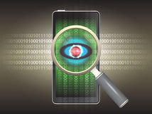 Virus. Magnifier and virus data in phone Royalty Free Stock Photos