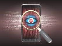 Virus. Magnifier and virus data in phone Stock Photos