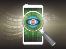 Virus. Magnifier and virus data in phone Stock Photo