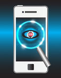 Virus. Magnifier and virus data in smartphone Stock Images
