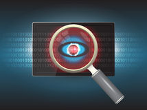 Virus. Magnifier and virus data in tablet Royalty Free Stock Photography