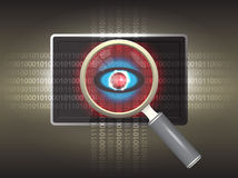 Virus. Magnifier and virus data in tablet Stock Photography