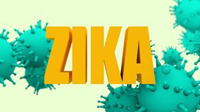 Virus models and Zika text Stock Images