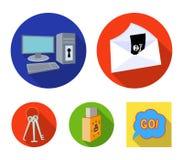 Virus, Monitor, Anzeige, Schirm Häcker und das Zerhacken von gesetzten Sammlungsikonen in der flachen Art vector Illustration des Stockbild