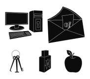 Virus, Monitor, Anzeige, Schirm Häcker und das Zerhacken von gesetzten Sammlungsikonen in der schwarzen Art vector Symbolvorrat Stockfotografie