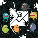 Virus monsters in the email letter. Stock Photography