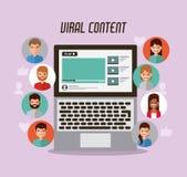 Virus- nöjda folksikter för video marknadsföring stock illustrationer