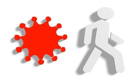 Virus and pedestrian icons Royalty Free Stock Images