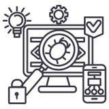 Virus, pirata informático, línea anti icono, muestra, ejemplo del vector que corta en el fondo, movimientos editable Fotos de archivo libres de regalías