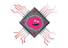 Virus Powered Computer Chip Illustration Royalty Free Stock Image