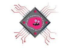 Virus Powered Computer Chip Illustration Royalty Free Stock Image