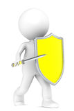 Virus Protection. 3D little human character with a Virus Shield and a Sword. People series Royalty Free Stock Photo