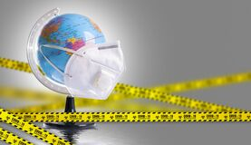 Free Virus Protection Covid 19 The World Wears A Mask To Fight The Corona Virus. The Concept Of Fighting Viruses Around The World Stock Photography - 176095142