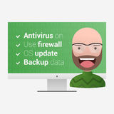 Virus protection measures. Satisfied user on a computer backgrou Stock Image