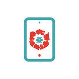 Virus protection shield icon on tablet pc laptop vector illustration. Stock Image