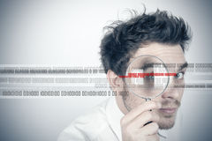 Virus search. Businessman looks for the virus Royalty Free Stock Image