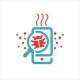 Virus searrching en el ejemplo del vector del smartphone Imagenes de archivo