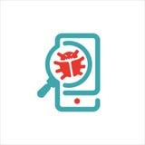Virus searrching en el ejemplo del vector del smartphone Foto de archivo libre de regalías