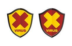 Virus - shield signs Stock Photo