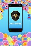 Virus siege smartphone with antivirus protection shield. A virus siege smartphone with antivirus protection shield Stock Image