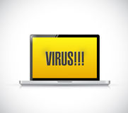 Virus sign on a laptop computer. illustration Stock Images