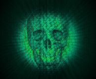 Virus skull in digital code. Royalty Free Stock Images