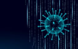 Virus soft 3D internet security. Personal data safety computer network software antivirus. Program code hacker alert. Cyber crime vector illustration art royalty free illustration