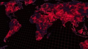 Virus spread all ower the world map footage.