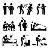 Virus Spread Diseases Transmission Infections Cliparts. A set of human pictogram representing the ways of virus and diseases spreading from one person to another Royalty Free Stock Images