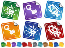 Virus Sticker Icons Stock Images
