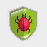 Virus system icon warning data shield. Illustration eps 10 Royalty Free Stock Image