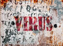 Free Virus Text On Rusty And Weathered Sign Outdoors. To Illustrate Virus, Sickness And The Corona Wuhan Virus. Stock Photo - 171135890