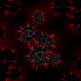 Virus threat.Black sharp objects with red spikes Royalty Free Stock Photos