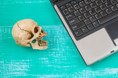 Virus to my computer and skull meaning of danger Stock Photo
