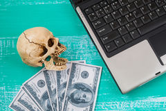 virus to my computer and skull meaning of danger Stock Image