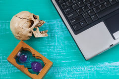 virus to my computer and skull meaning of danger Royalty Free Stock Photography