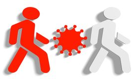 Virus- und Fußgängerikonen Stockfoto
