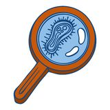 Virus under magnify glass icon, hand drawn style stock illustration