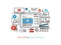 Virus- video produktionlägenhetlinje illustration Fotografering för Bildbyråer