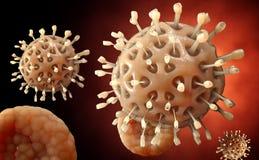 VIRUS _ Virus i den infekterade organismen, virus- sjukdomepidemi 3d framför Royaltyfri Illustrationer