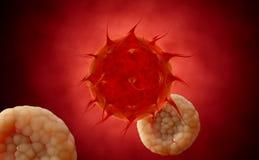 VIRUS _ Virus i den infekterade organismen, virus- sjukdomepidemi 3d framför Stock Illustrationer